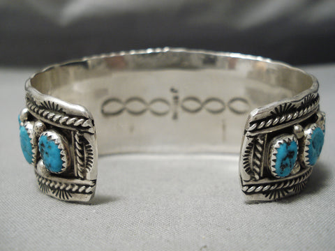 Huge Vintage Native American Navajo Cluster Of Turquoise Sterling Silver Tight Wave Bracelet