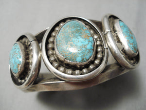 One Of Best Vintage Native American Navajo #8 Turquoise Sterling Silver Bracelet Old