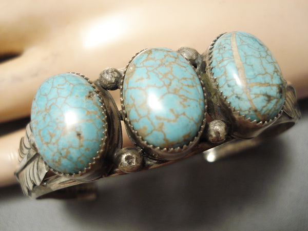 Rare Bulbous Vintage Native American Navajo #8 Turquoise Sterling Silver Bracelet Old
