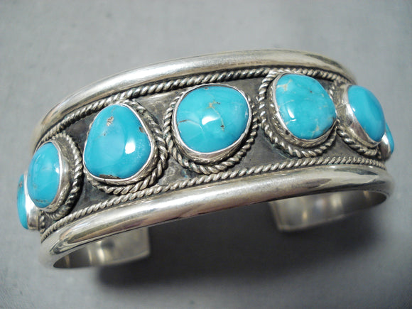 Outstanding Native American Navajo 9 Kingman Turquoise Sterling Silver Bracelet