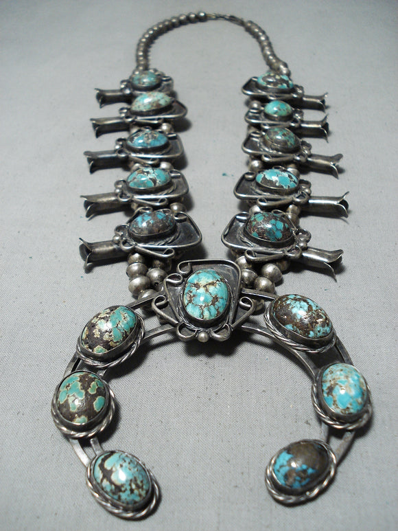 Best Bisbee Turquoise Vintage Native American Navajo Sterling Silver Squash Blossom Necklace