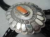 Important Rob Yellowhorse Vintage Native American Navajo Coral Sterling Silver Bolo Tie