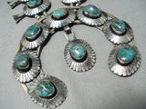 Heavy 253 Gram Vintage Native American Navajo Turquoise Sterling Silver Squash Blossom Necklace