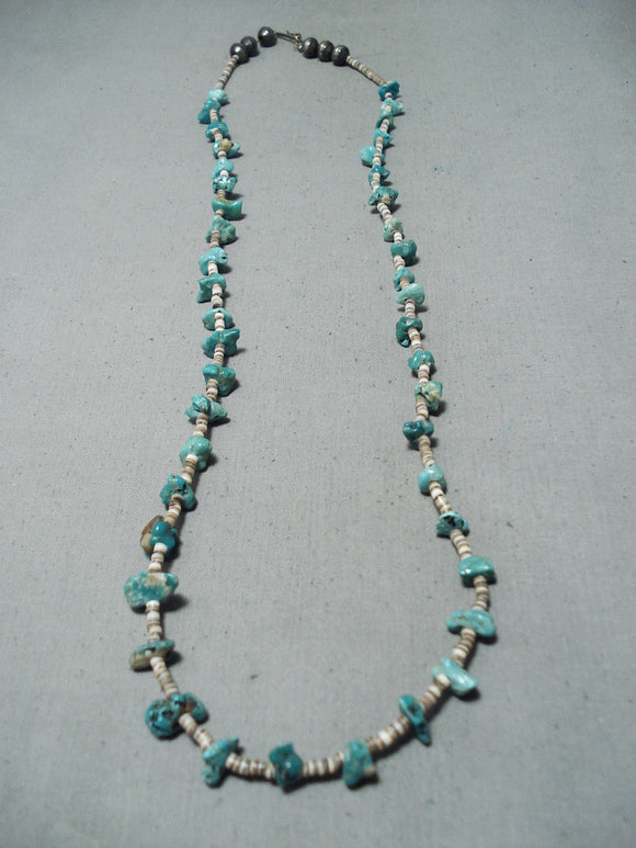 Wonderful Vintage Native American Navajo Turquoise Sterling Silver Necklace