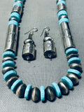 Long Tubule Native American Navajo Turquoise Sterling Silver Necklace