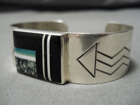 Stunning Vintage Native American Navajo Hev Thompson Inlay Sterling Silver Bracelet