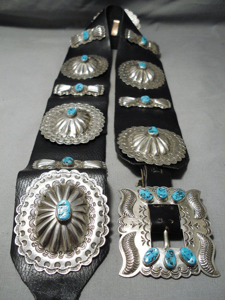 Heavy Huge Vintage Native American Navajo Turquoise Sterling Silver Concho Belt Old