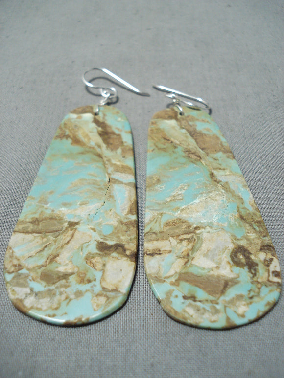 Native American One Of The Biggest Santo Domingo #8 Turquoise Sterling Silver Earrings