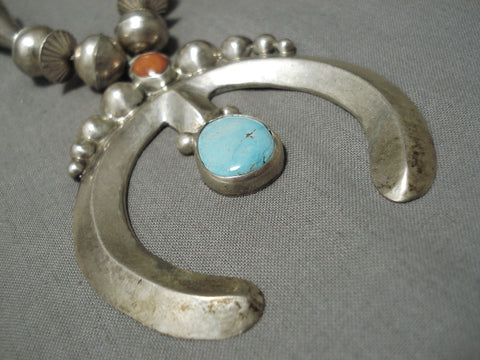 One Of Best Vintage Native American Navajo Tubule Sterling Silver Turquoise Coral Necklace