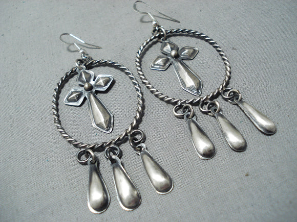Cross Catcher Native American Navajo Lasso Repoussed Sterling Silver Earrings
