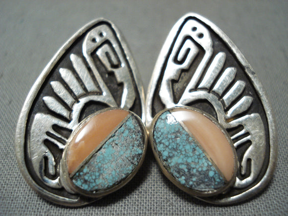Intricate Vintage Native American Navajo Turquoise Inlay Sterling Silver Earrings