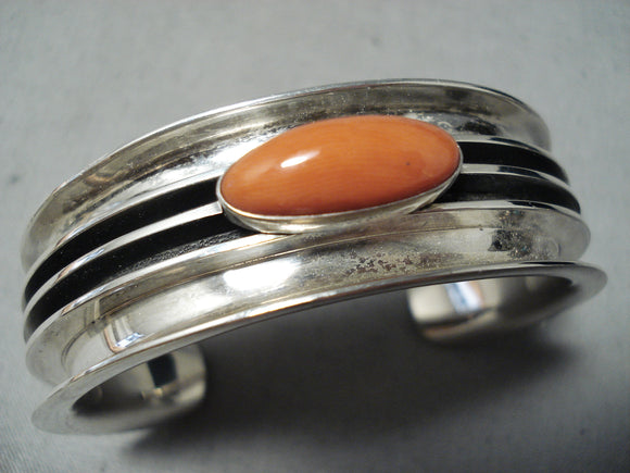 Howie Nelson Heavy Vintage Native American Navajo Coral Sterling Silver Bracelet