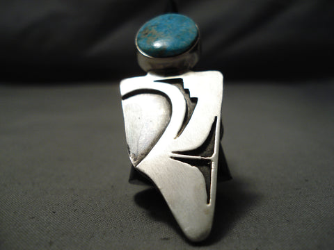 Huge Native American Turquoise Sterling Silver Maiden Ring
