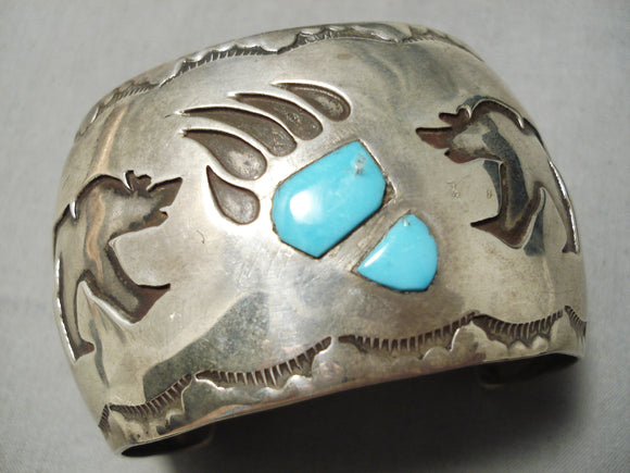 Important Vintage Native American Navajo Long Family Turquoise Sterling Silver Bracelet Old