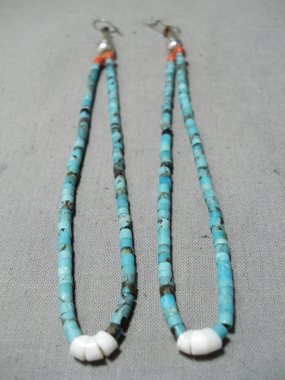 One Of The Best Vintage Native American Navajo Turquoise Sterling Silver Jacla Earrings Old