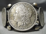 Heavy 110 Gram Navajo Sterling Silver Native American Coin Bracelet Thick