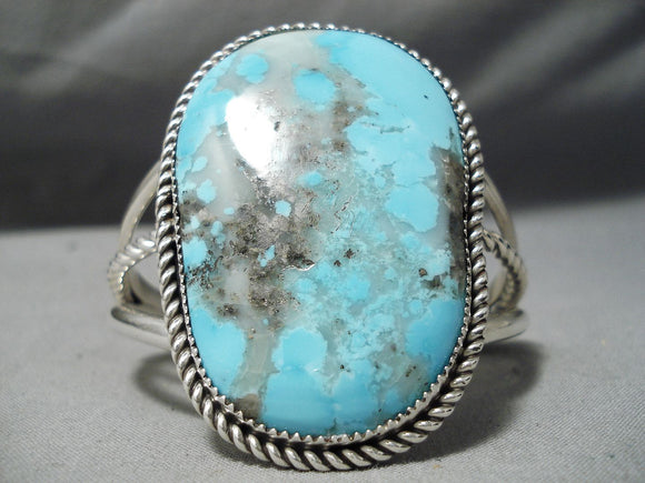 Excellent Vintage Native American Navajo Pilot Mountain Turquoise Sterling Silver Bracelet Old