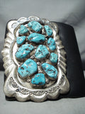 Magnificent Vintage Native American Zuni Sleeping Beauty Turquoise Sterling Silver Bowguard