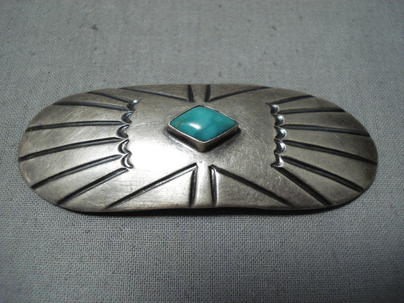 Marvelous Vintage Navajo Native American Damale Turquoise Sterling Silver Pin
