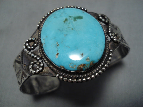 Amazing Vintage Navajo Sterling Silver Native American Turquoise Bracelet Cuff