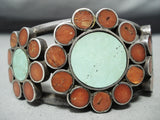 Unique Vintage Zuni Native American Navajo Turquoise Coral Sterling Silver Bracelet