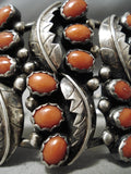 One Of The Best Vintage Native American Navajo Coral Sterling Silver Leaves Bracelet Old