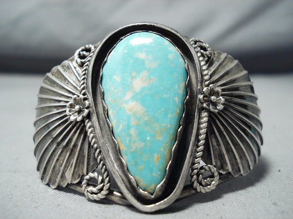 Incredible Vintage Native American Navajo Blue Gem Turquoise Sterling Silver Bracelet Old