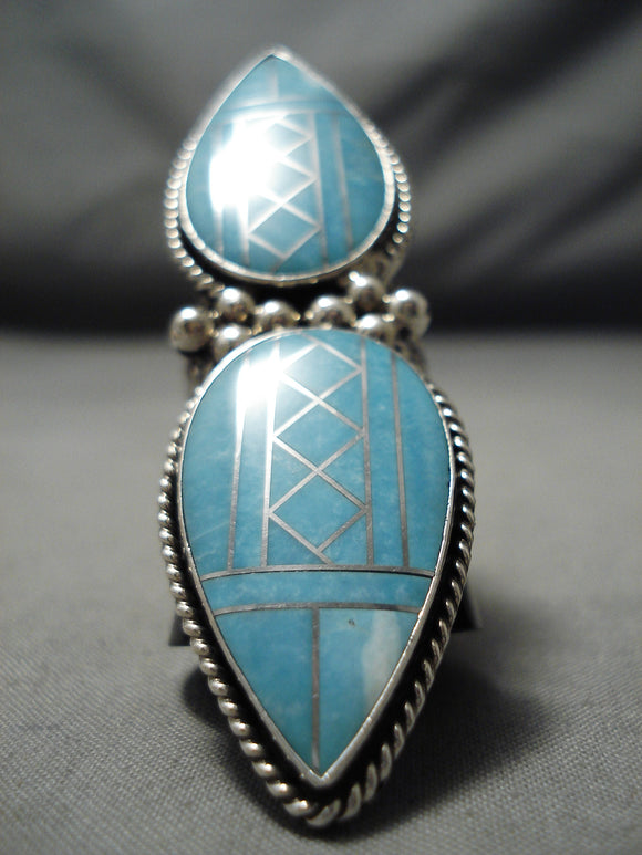 Native American Fabulous Towering Huge Navajo Intricate Inlay Turquoise Sterling Silver Ring