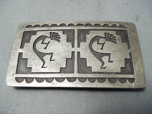 Exceptional Vintage Native American Hopi Sterling Silver Kokopellis Buckle Old