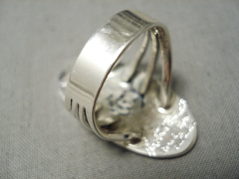 Important Inlay Master Zuni Native American Bird Sterling Silver Ring