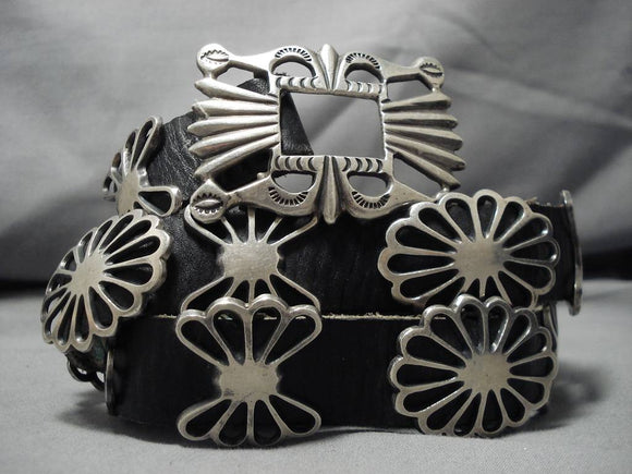 Incredible Leo Francisco Vintage Native American Navajo Sterling Silver Concho Belt Old