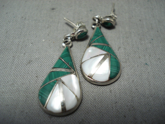 Native American Signed Intricate Vintage Zuni Sterling Silver Pearl Earrings