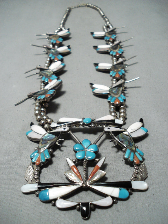 Native American Detailed! Vintage Zuni Turquoise Sterling Silver Squash Blossom Necklace