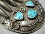 One Of The Best Vintage Native American Navajo Turquoise Sterling Silver Buckle Old