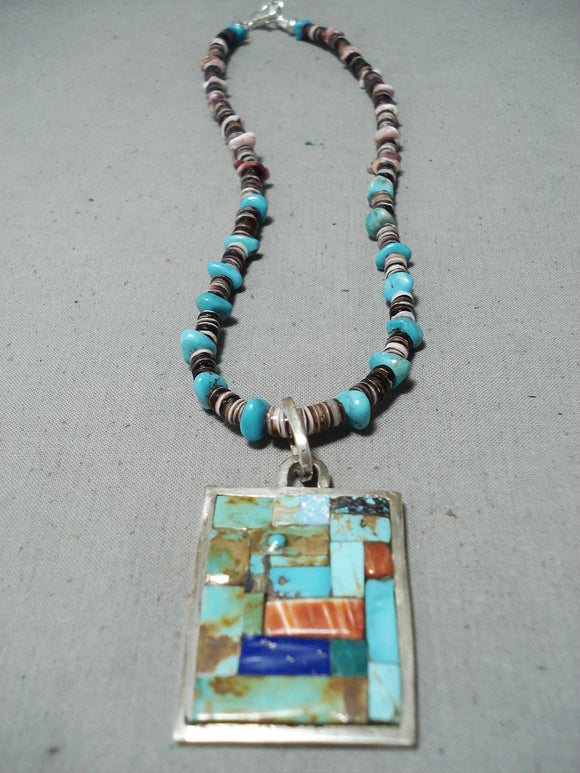 Native American Unique Vintage Santo Domingo Turquoise Sterling Silver Necklace Old