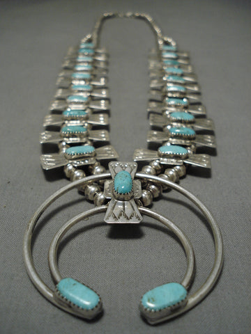 Superior Vintage Native American Navajo Green Turquoise Sterling Silver Squash Blossom Necklace