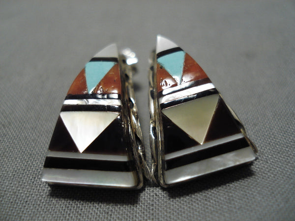 Intricate Vintage Zuni Native American Turquoise Coral Sterling Silver Earrings