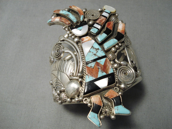Big And Crazy Native American Navajo Turquoise Sterling Silver Kachina Bracelet