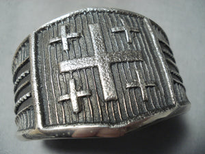 Magnificent Navajo Sterling Silver Wide Cross Bracelet Native American