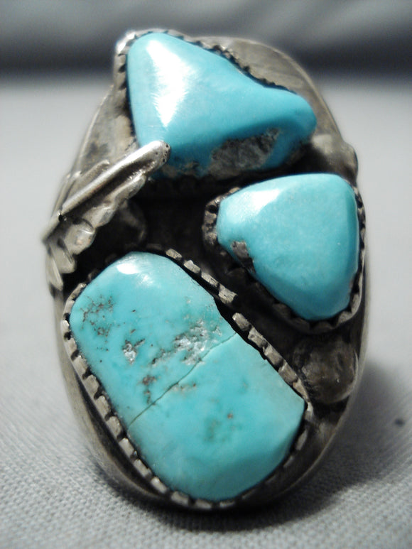 Julie Lamy Vintage Native American Zuni Blue Gem Turquoise Sterling Silver Ring Old