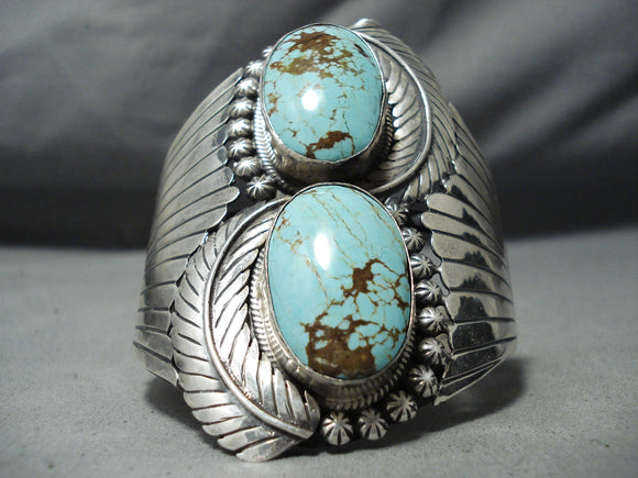 One Of The Best Vintage Native American Navajo #8 Turquoise Sterling Silver Bracelet Old