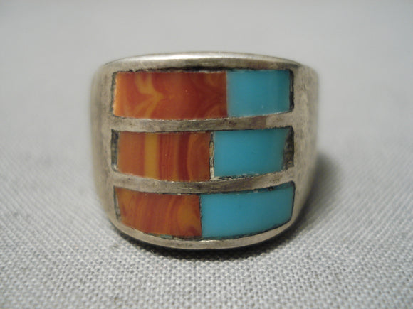 Incredible Vintage Native American Navajo Turquoise Coral Sterling Silver Ring Old