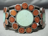 Heavy Intricate Vintage Native American Navajo Coral Turquoise Flower Sterling Silver Bracelet