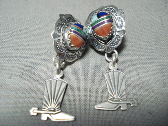 Native American Detailed Vintage Turquoise Inlay Cowboy Spur Sterling Silver Earrings