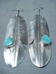 Feather Genius Native American Navajo Turquoise Sterling Silver Earrings
