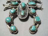Museum Vintage Native American Navajo Green Turquoise Sterling Silver Squash Blossom Necklace