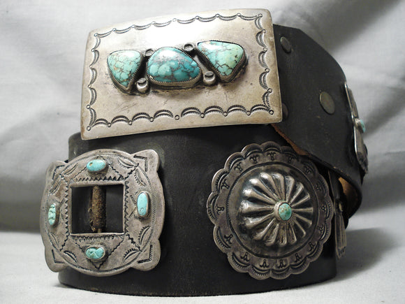 Very Old Heavy Vintage Native American Navajo Turquoise Sterling Silver Concho Belt Old