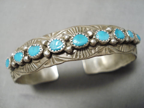 Detailed!! Vintage Navajo Turquoise Sterling Silver Native American Bracelet