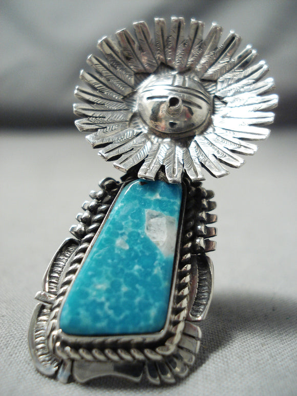 Expert Kachina Detail Native American Navajo Gilbert Turquoise Sterling Silver Ring
