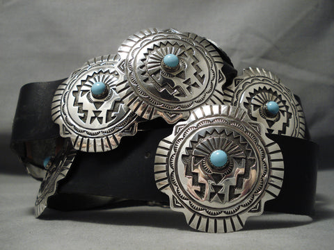 Heavy And Rare Vintage Native American Navajo Hubbell Trading Bead Sterling Silver Concho Belt